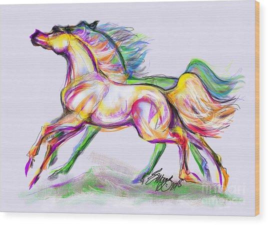 Crayon Bright Horses Wood Print