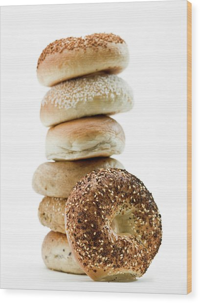 Stack Of Assorted Bagels Wood Print