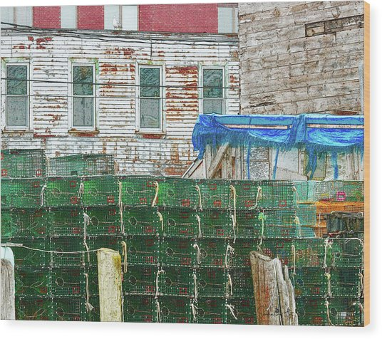 Stacked Lobster Traps Wood Print