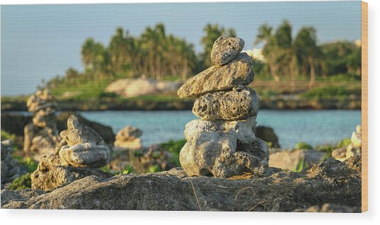 Stacked Rocks On Mexico Beach Wood Print