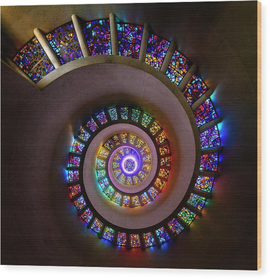 Stained Glass Spiral Wood Print