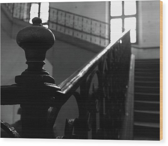 Wood Print featuring the photograph Stairs, Handrail by Edward Lee