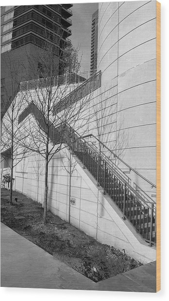Stairs Up The Side Wood Print