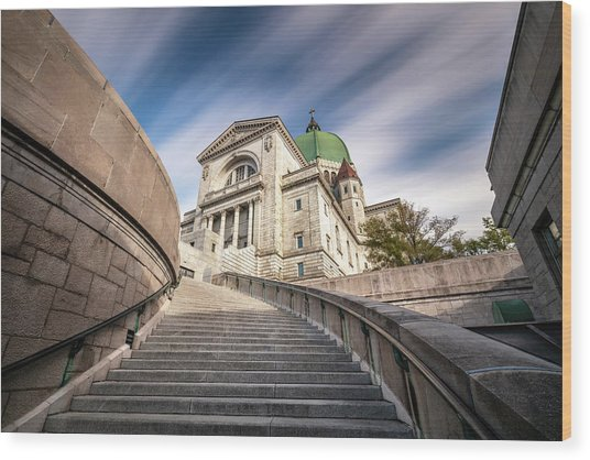Wood Print featuring the photograph Stairway To St Joseph Oratory by Pierre Leclerc Photography