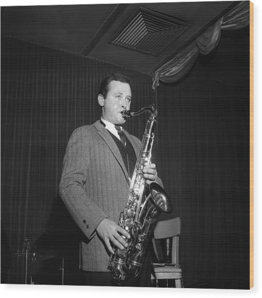 Stan Getz Performing In Ny Wood Print