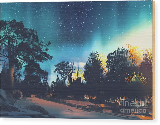Star Field Above The Trees In Wood Print