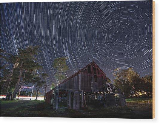 Star Trails Over Bonetti Ranch Wood Print