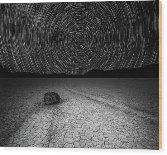 Star Trails Over Racetrack Playa Black And White Wood Print
