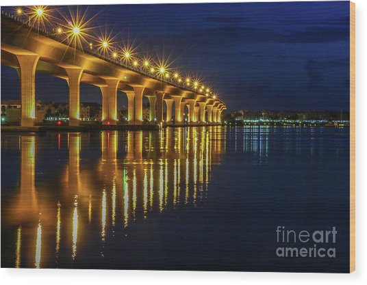 Starburst Bridge Reflection Wood Print