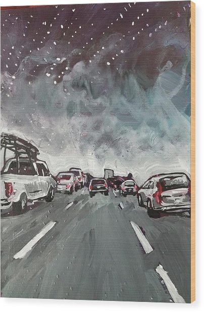 Starry Night Traffic Wood Print