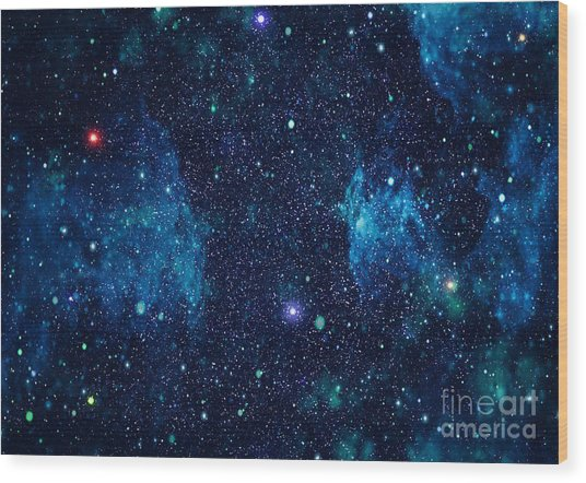 Starry Outer Space Background Texture Wood Print