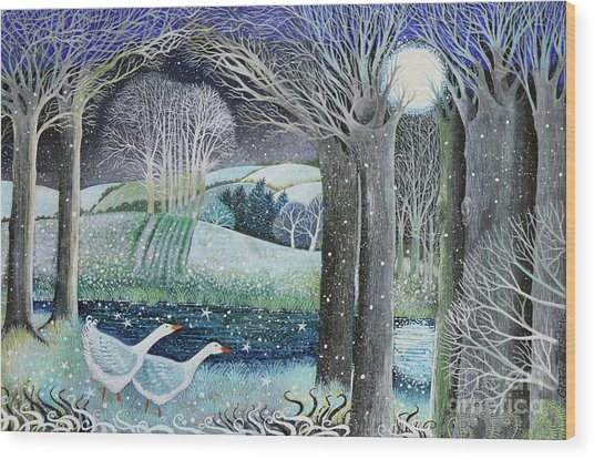Starry River Wood Print