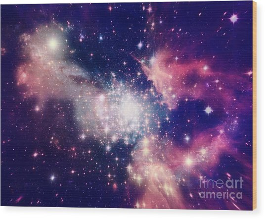 Stars Of A Planet And Galaxy In A Free Wood Print
