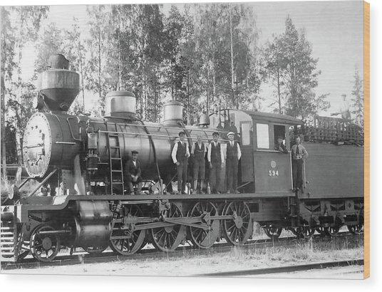 Steam Engine Locomotive 594 Finland Wood Print
