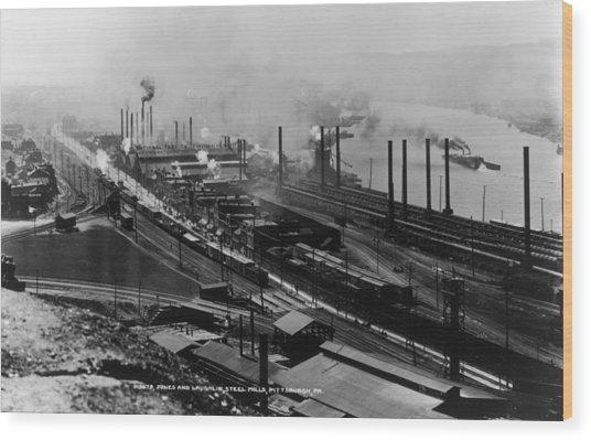 Steel Mills Wood Print by Fotosearch