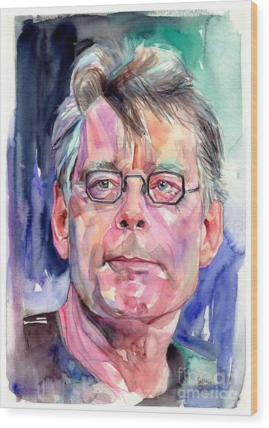 Stephen King Portrait Wood Print