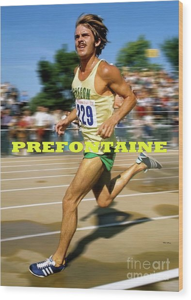 Steve Prefontaine, The Legend, Oregon Ducks Wood Print