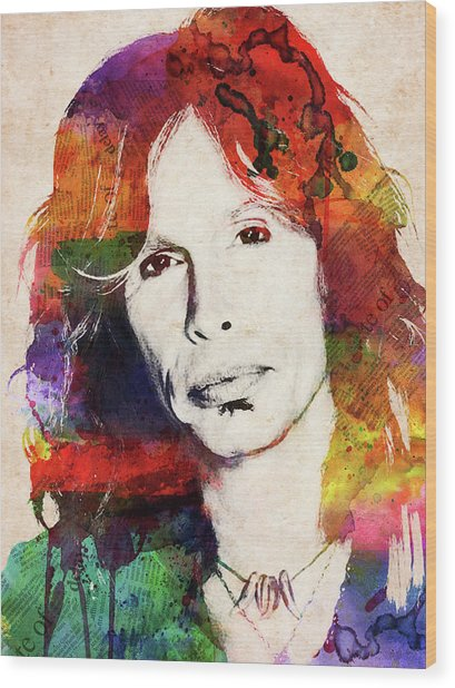 Steven Tyler Watercolor Portrait Wood Print