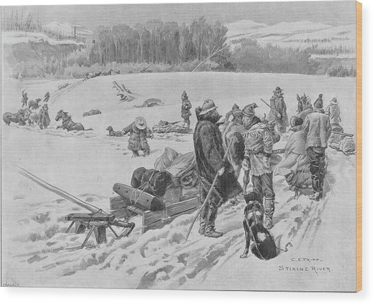 Stikine River Crossing Wood Print by Hulton Archive