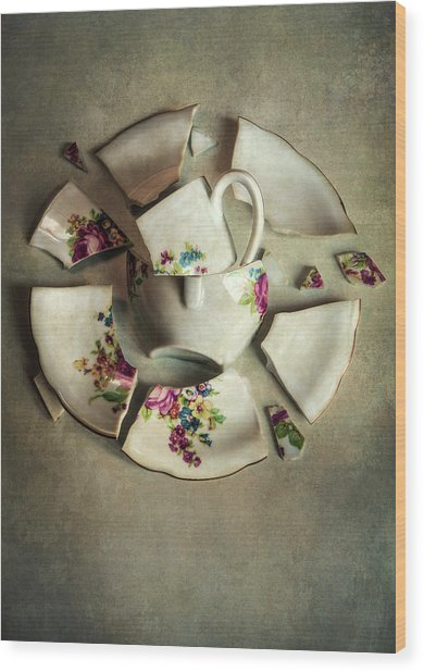 Still Life With Broken Teaset Wood Print