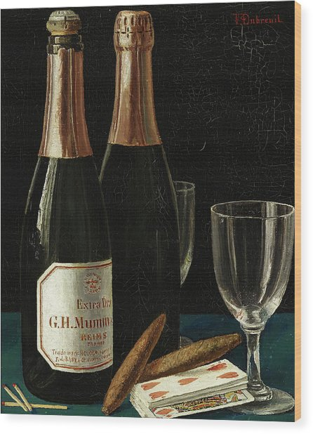 Still Life With Champagne, Cigars, And A Pack Of Playing Cards Wood Print