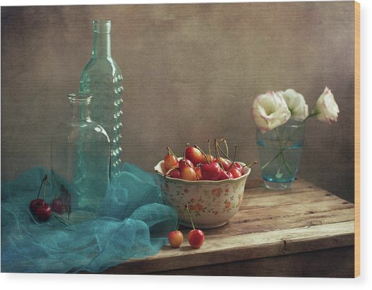 Still Life With Cherries And Blue Wood Print