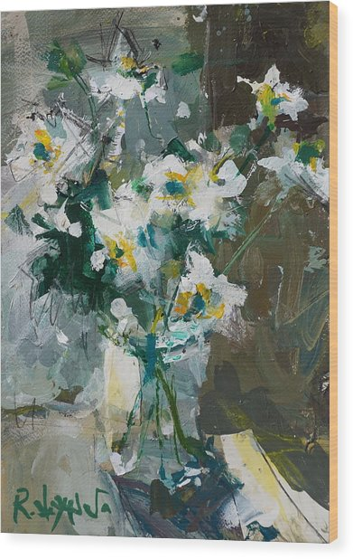 Still Life With White Anemones Wood Print
