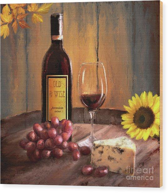 Still Life With Wine Wood Print