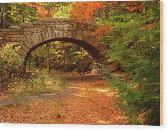 Stone Bridge, Part Of Carriage Roads Wood Print