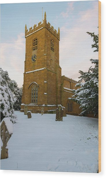 Stone Church In The Snow At Sunset Wood Print