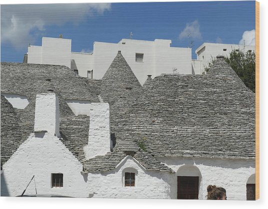 Stone Coned Rooves Of Trulli Houses Wood Print