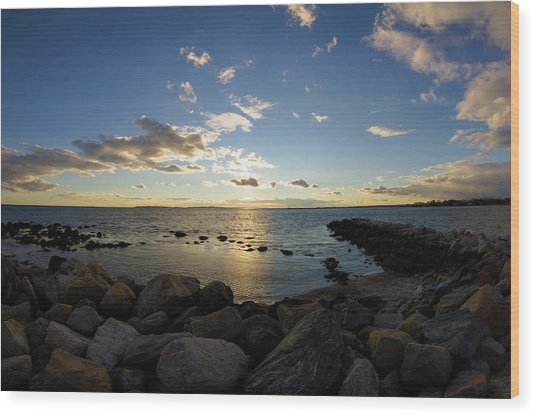 Stonington Point On The Rocks - Stonington Ct Wood Print