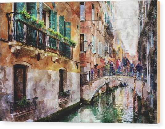 People On Bridge Over Canal In Venice, Italy - Watercolor Painting Effect Wood Print