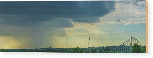 Storm Approaching Amusement Park Wood Print