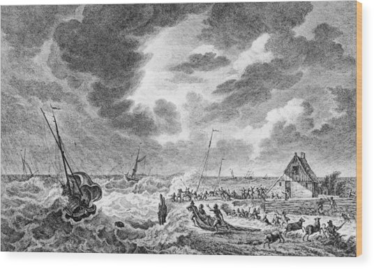 Storm At Sea Wood Print by Hulton Archive