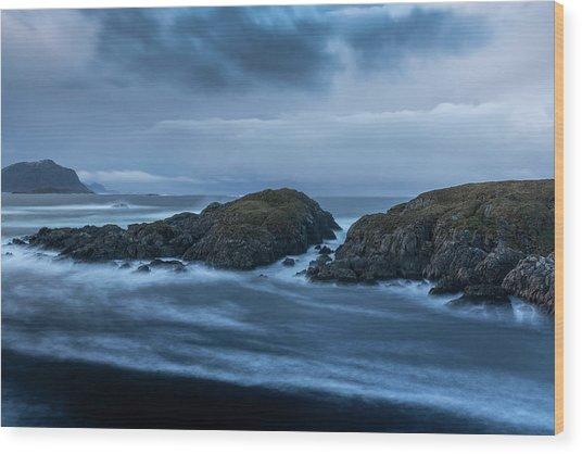 Storm At The Sea Wood Print