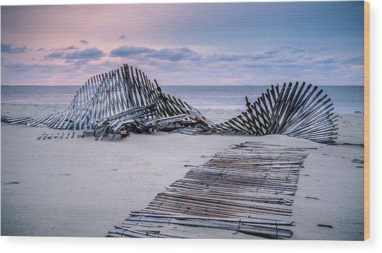 Storm Fence Sunrise Wood Print