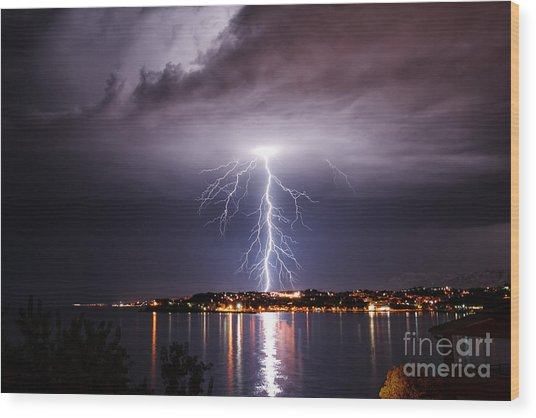 Storm On The Coast Of Adriatic, Croatia Wood Print