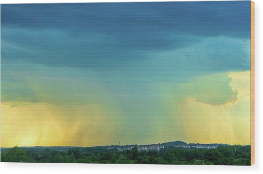 Storm Over Spring View Apartments Wood Print
