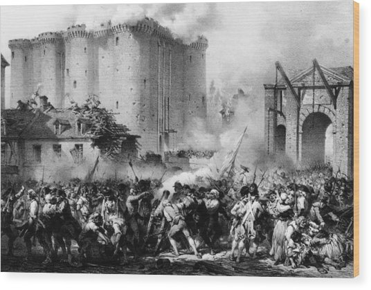 Storming The Bastille Wood Print by Hulton Archive