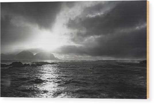 stormy coastline in northern Norway Wood Print