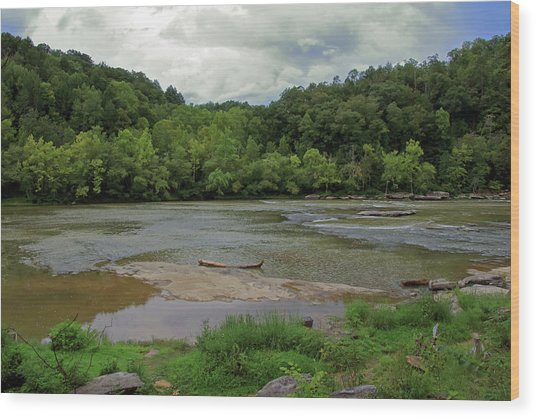 Wood Print featuring the photograph Stormy Evening At The River by Angela Murdock