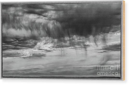 Stormy Sky In Black And White Wood Print