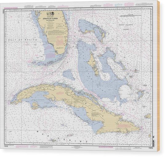 Straits Of Florida Nautical Chart Wood Print