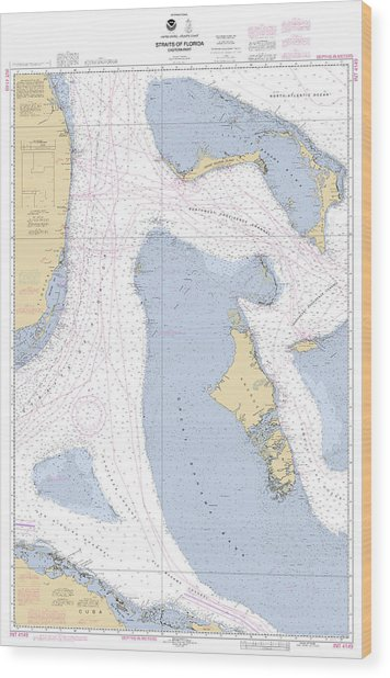 Straits Of Florids, Eastern Part Noaa Chart 4149 Edited. Wood Print