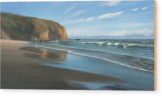 Strands Beach Dana Point Oil Painting Wood Print