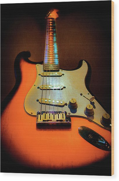 Stratocaster Triburst Glow Neck Series Wood Print