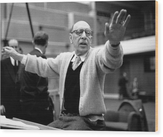 Stravinsky Conducts Wood Print by Erich Auerbach