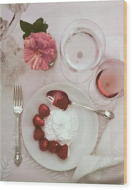 Strawberries And Cream With Rose Wood Print