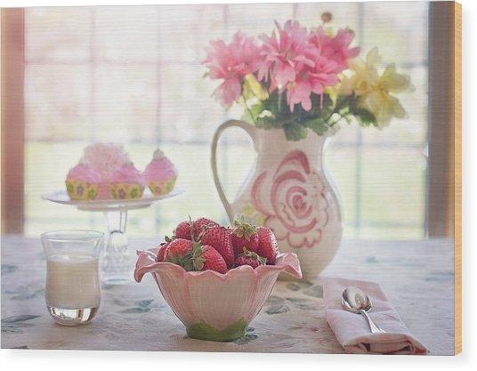 Strawberry Breakfast Wood Print